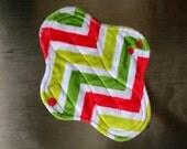 """9.5"""" Medium Flow Reusable Cloth Pad ~ Citrus Wave Minky ~ by Talulah Bean"""