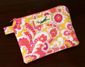 "7""x5"" Tab-Handled Wetbag ~ Papaya Garden Cotton with PUL Lining ~ by Talulah Bean"
