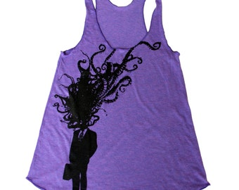 WOMENS Octopus Print Corporate Man Explosion - Tri-Orchid Purple American Apparel Tank Top -  xs, s, m, and l