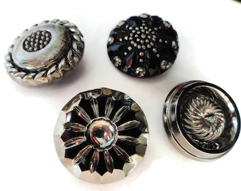 High Fashion Antique Glass Buttons - Large Vintage Black Silver 1 1/8 inch for Jewelry Beads Sewing Knitting