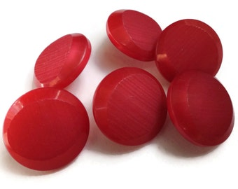 French Cherry Vintage Buttons - 6 Mid Century Plastic Suit Buttons 3/4 inch 19mm for Jewelry Beads Sewing Knitting