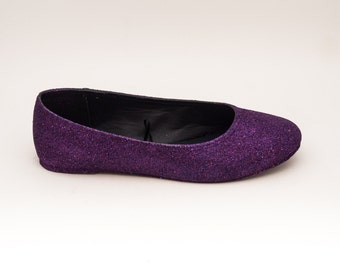 Glitter | Razzle Deep Purple Ballet Flat Slipper Custom Shoes