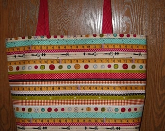 Sewing bag with red handles