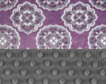 Minky Adult Blanket, 60 x 70 -Personalized Minky Blanket - Flowers Medallions Lavender Purple Gray Blanket - Minky Throw