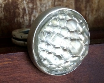Sterling Silver Ring with Vintage Bike Reflector-Clear Glass