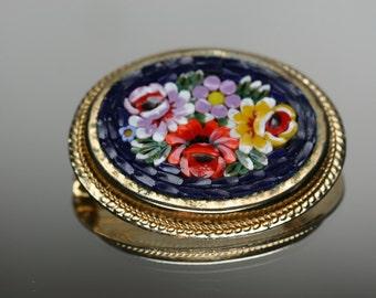 Vintage Micro Mosaic Oval Brooch