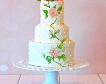 Wedding cake stand-Godinger-white porcelain-13 inch cake stand-large cake stand-elegant cake stand-white cake stand
