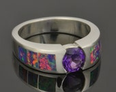 Lab Created Opal Ring with Amethyst Center Stone in Sterling Silver
