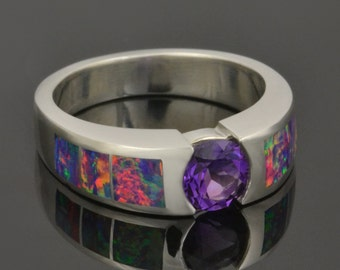 Lab Created Opal Ring with Amethyst Center Stone in Sterling Silver, Lab Opal Ring, Lab Opal Engagement Ring, Opal Ring, Amethyst Ring