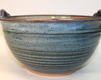 Large Handled Salad Bowl Serving Bowl with Cream inside andspeckled blue and periwinkle outside  Ready to Ship