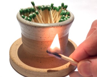 Ceramic Match Striker Fireplace accessories candle lighter  in Sand In Stock Ready to Ship