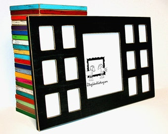 """Collage picture frame, First year frame, School years frame, 1) 8""""x10"""" 12) 2.5""""x3.5"""", Multi photo frame,multiple frame,K-12 frame,13 opening"""