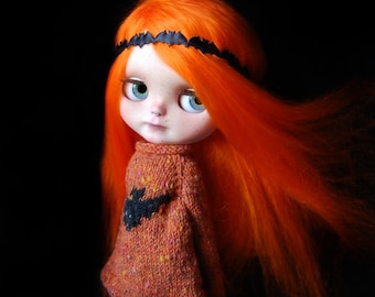 """RESERVED and ON LAYAWAY!!! Custom Halloween Blythe doll alpaca reroot """"Pumpkin"""" by Fausto & Gretchen. Layaway accepted. Shipping included."""