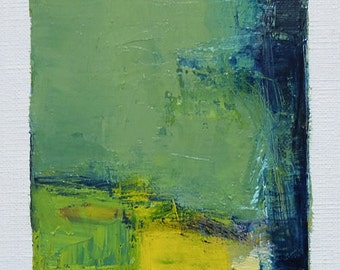 Sep. 28, 2016 - Original Abstract Oil Painting - 9x9 painting (9 x 9 cm - app. 4 x 4 inch) with 8 x 10 inch mat