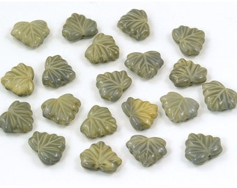 Czech Glass Satiny Gray and Tan Maple Leaf Beads 13mm - 10