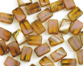 Milky Pink, Topaz and White Picasso Rectangle 8x12mm Czech Glass Window Beads - 15
