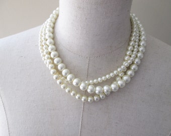 Triple Strand Twisted Pearl Layered Necklace, Wedding Party Jewelry, Cream Pearls, Bridal Pearl necklace