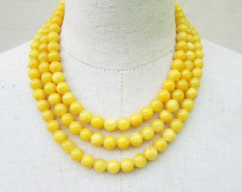 Bright Yellow Beaded Triple Strand Necklace , Lemon Multi Strand Layered Beads
