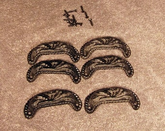 Set of 6 Cast Iron Bin or Drawer Pulls with Flower Design