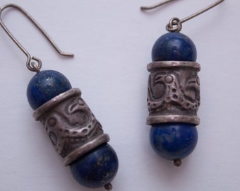 lapis & sterling silver dangle earrings