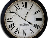 24in CAMBRIDGE ROMAN Black Large Wall Clock Gallery Antique Style Family Heirloom w/ FREE inscription