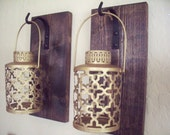 Rustic gold lantern pair (2), wall decor, bedroom wall decor,  wall sconces, housewarming gift, wrought iron hook, rustic wood boards