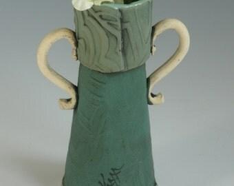 VASE, Clay Vase, Green Vase, FLOWER VASE, Stamped Vase, Pottery Vase, Ceramic Vase, Porcelain Vase, Bud Vase