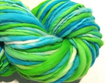 Handspun Yarn Froggy 124 yards hand dyed merino wool turquoise  green yarn blue yarn waldorf doll hair knitting supplies crochet supplies