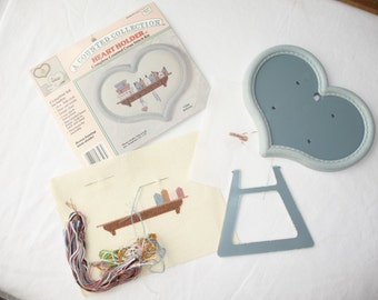 Vintage Counted Cross Stitch, Heart Holder, Plastic Heart Frame, Aida Cloth, Thread, Sewing Kit, Country Cottage, Home Decor, Gift Idea