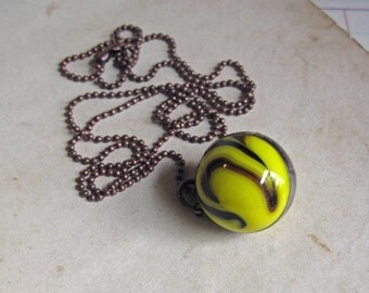Brown and Yellow Glass Shooter Marble  Long Necklace