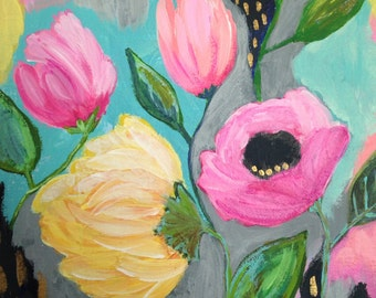 Mother's Day Floral Painting, Original Whimsical Bright Flower Painting for Girl, Teen, Birthday Gift, 8x10 Canvas
