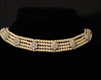 Vintage CINER Pearl and Rhinestone Choker Necklace