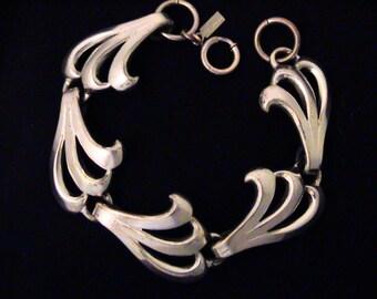 Vintage MONET JEWELERS 1930s Silver Modernist Bracelet