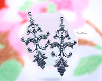 Vintage Style Art Nouveau Antiqued Silver Filled Floral VIne Charms Pendants Drops - 2