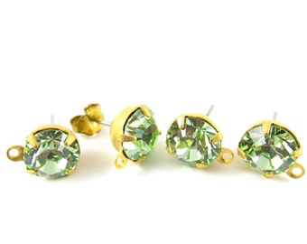2 pcs - Gold Plated Swarovski Crystal Earring Posts with Loop Rhinestone Ear Studs Earring Finding Round 8mm - Chrysolite