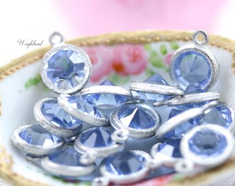 Light Sapphire 10mm Vintage Round Swarovski Stone in 1 Ring Matte Silver Plated Channel Settings - 4