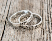 Uppercase Font Stamped Mother's Rings, Hand Stamped Ring, Mother's Ring, Handstamped Name Rings, Kid's Name Rings, Stackable Mother's Ring