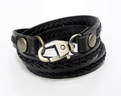 Black Leather Bracelet Wrap Leather Bracelet with Metal Alloy Clasp Hand Stitched