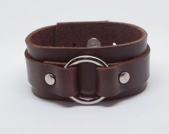 Brown Leather with Metal O Ring Leather Cuff Leather Bracelet