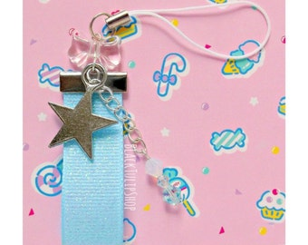 Kawaii Star Charm for Phone Planner Zipper Pull Glitter Pastel Blue Ribbon Swarovski Crystals Fairy Kei Sweet Lolita