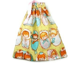 Retro Baby Bag Drawstring Pouch Little Girls and Boys Babies Pastel Storage Organization Small Tote Bag
