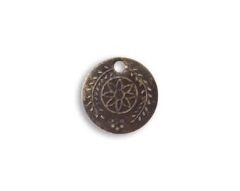 6 pieces Botanical Coin Charm, Brass, Vintaj P255