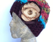 Multiple Colored Crocheted Beanie Hat in Orange, Olive, Gold, Green, Red, Burgundy, Turquoise, with Removable Flower Pin