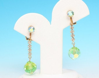 CIJ Sale Green AB Crystal Dangle Earrings Clip Style Vintage
