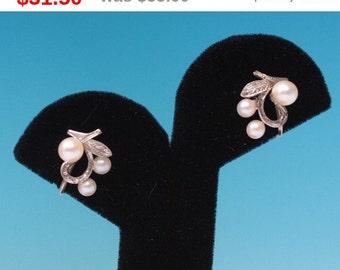 CIJ Sale Cultured Pearl Earrings Silver Leaf Motif Vintage Screw Back