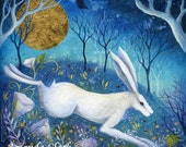 Moon Meadow by Amanda Clark. A special edition print with hand embellished gold leaf detail.