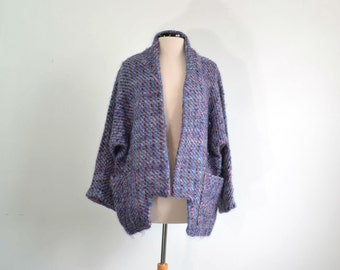 Vintage 80s Irish Mohair Sweater Jacket Oversize Kimono Hand Woven Wool Cardigan Kathleen Trimble Original