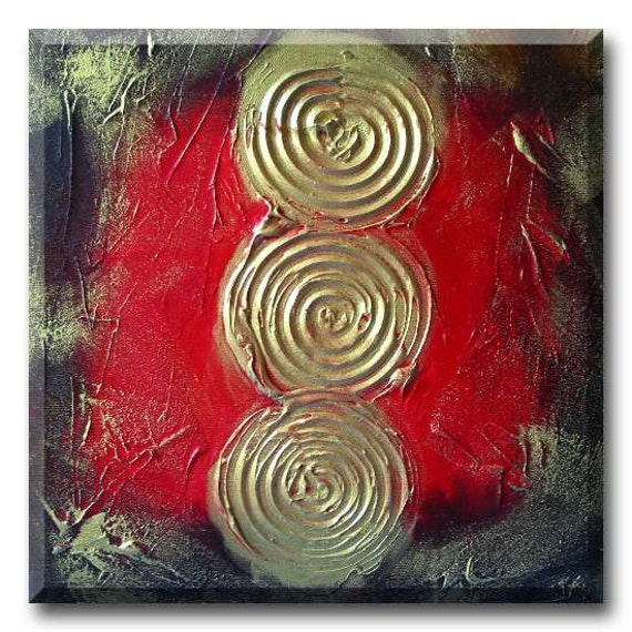 red abstract art original painting wall art decor gold lucky prosperity Chinese coins