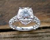 Forever Brilliant Moissanite Diamond Engagement Ring in 18K White Gold Old Fishtail Prong Setting Size 6