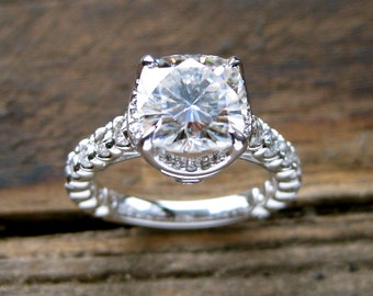 Forever Brilliant Moissanite Diamond Engagement Ring in 18K White Gold Old Fishtail Prong Setting Size 6